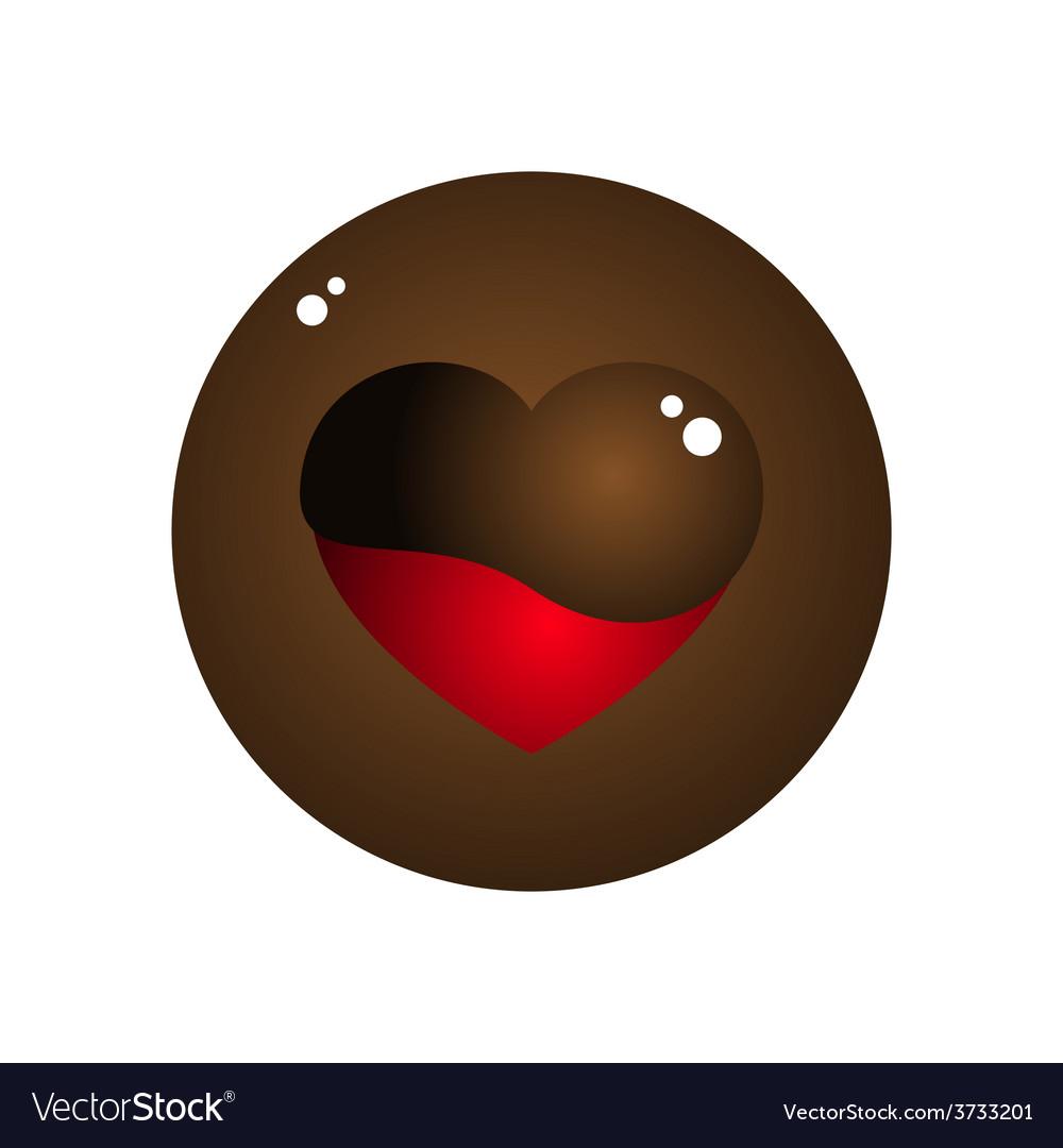 Love heart melt chocolate circle design vector