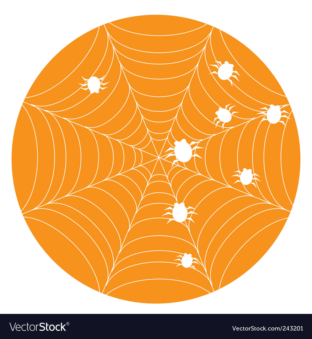 Orange halloween background with web vector | Price: 1 Credit (USD $1)