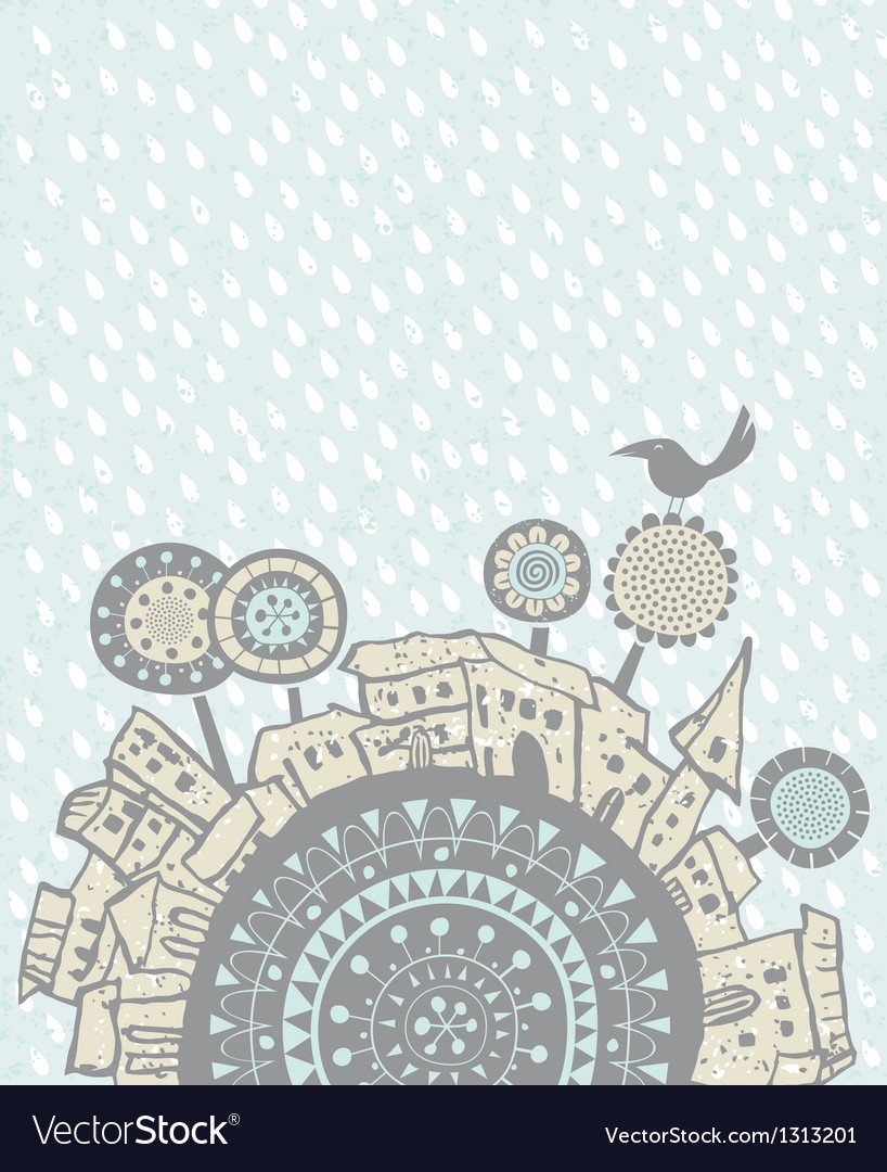 Rain falling over a city vector | Price: 1 Credit (USD $1)