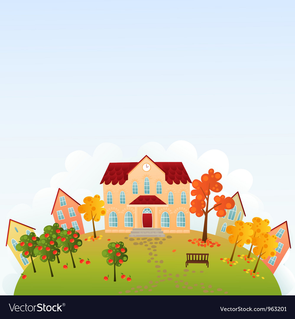 School time town vector | Price: 1 Credit (USD $1)
