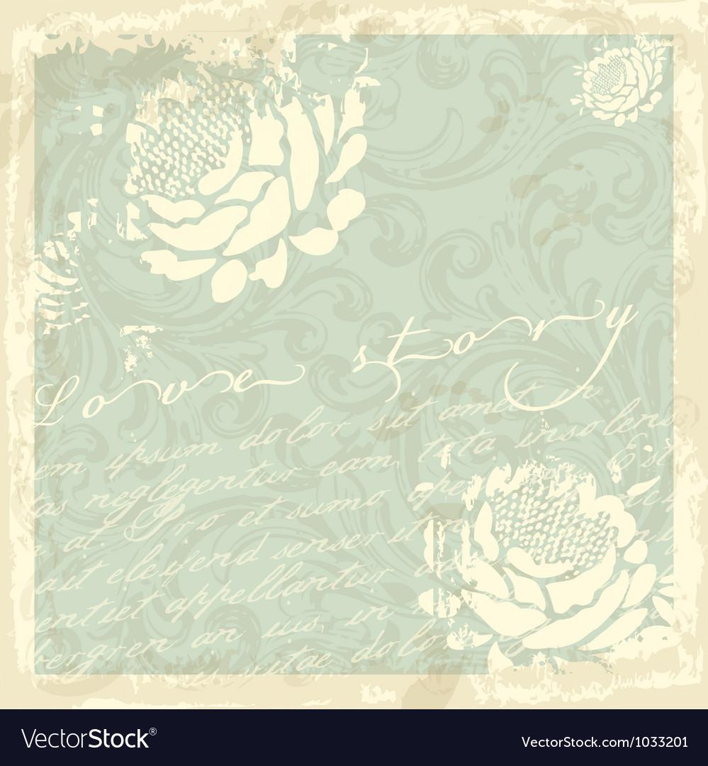 Vintage floral card vector | Price: 1 Credit (USD $1)