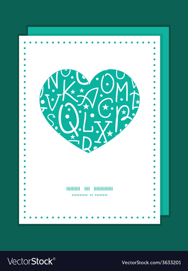 White on green alphabet letters heart symbol frame vector | Price: 1 Credit (USD $1)