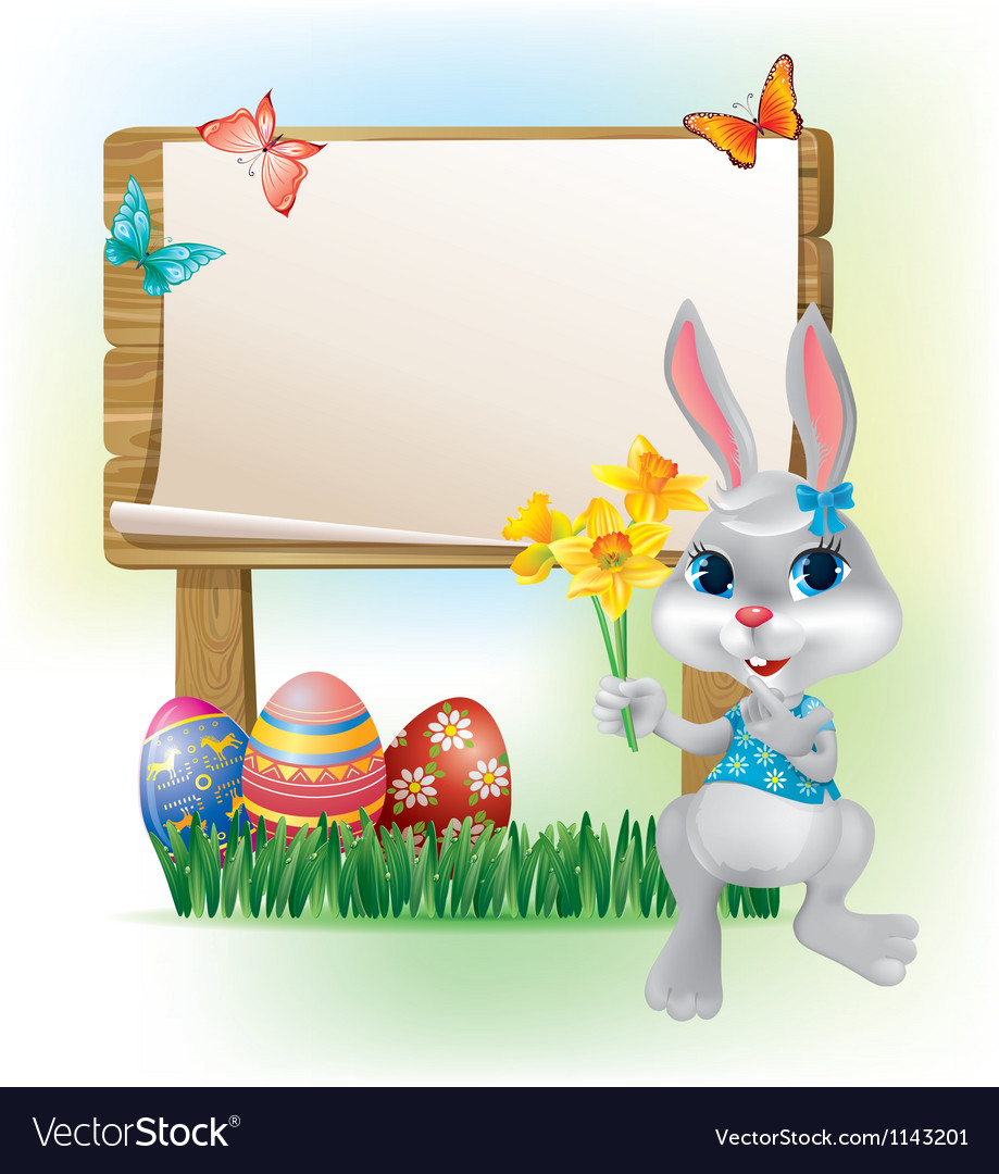 Wooden sign with easter bunny vector | Price: 1 Credit (USD $1)