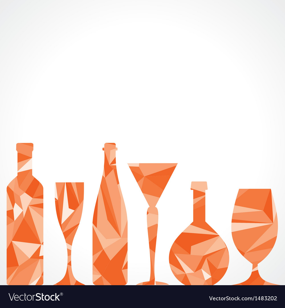 Abstract triangle wine bottles and glass vector | Price: 1 Credit (USD $1)