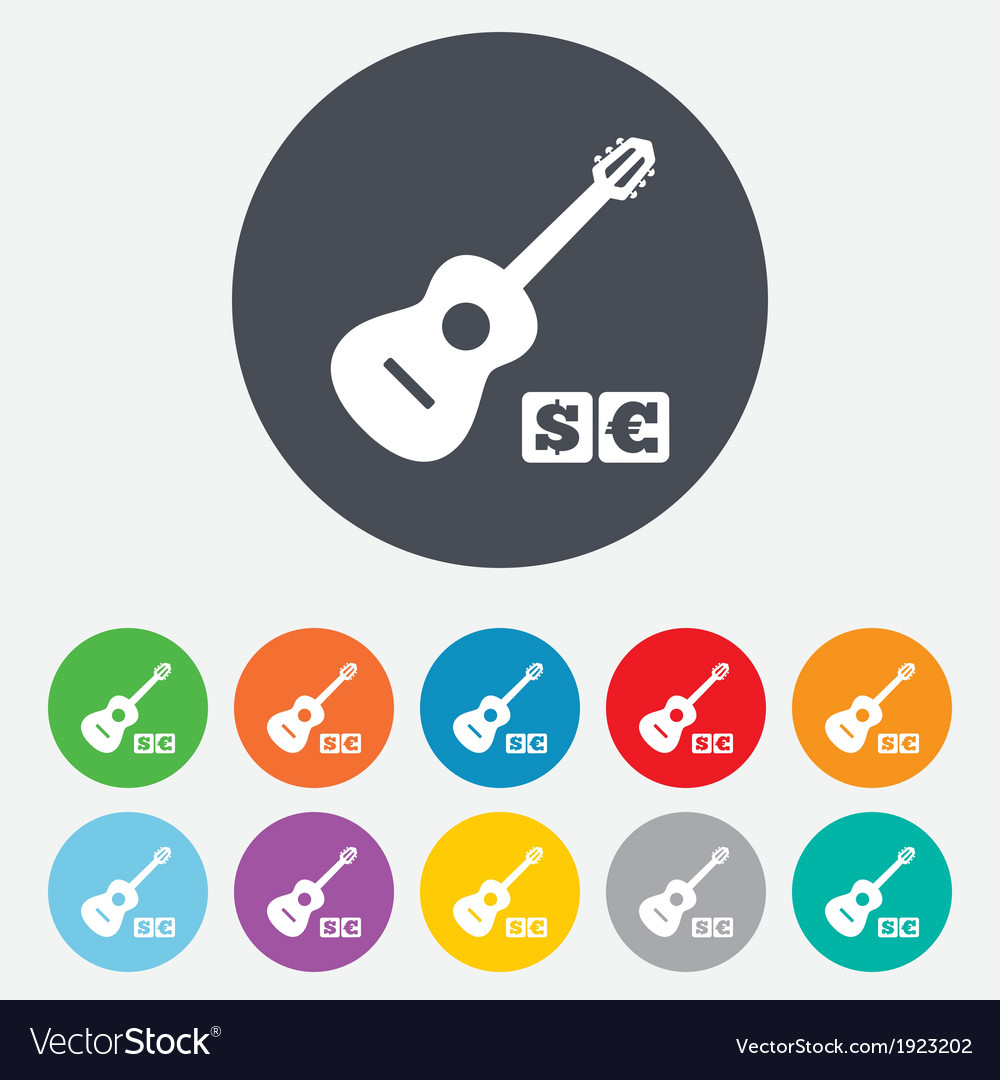 Acoustic guitar sign icon paid music symbol vector | Price: 1 Credit (USD $1)