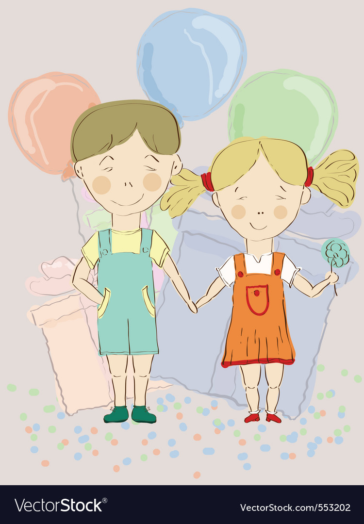 Boy and girl holding hands vector | Price: 1 Credit (USD $1)