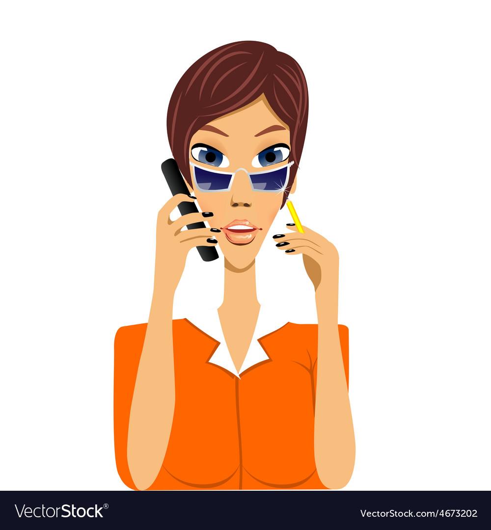 Cartoon secretary talking on phone vector | Price: 1 Credit (USD $1)