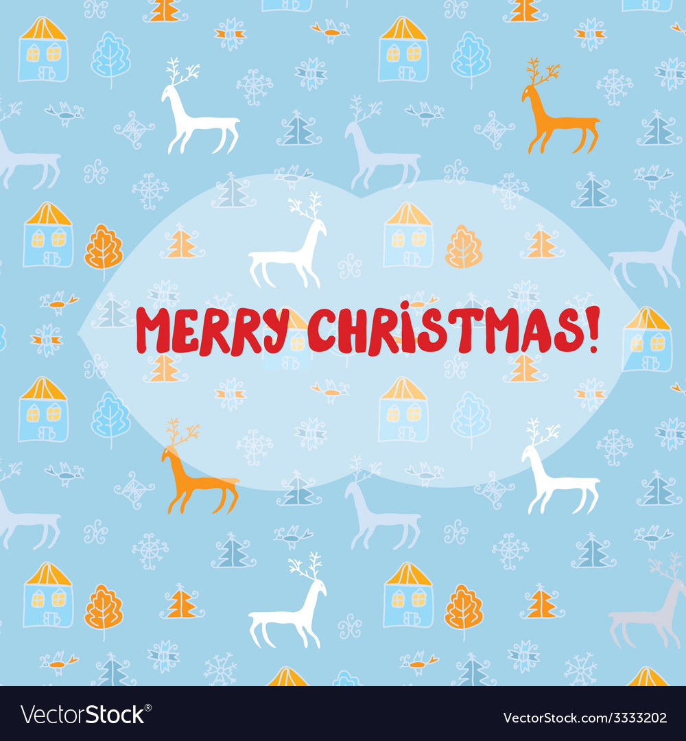 Christmas card with deers pattern vector | Price: 1 Credit (USD $1)