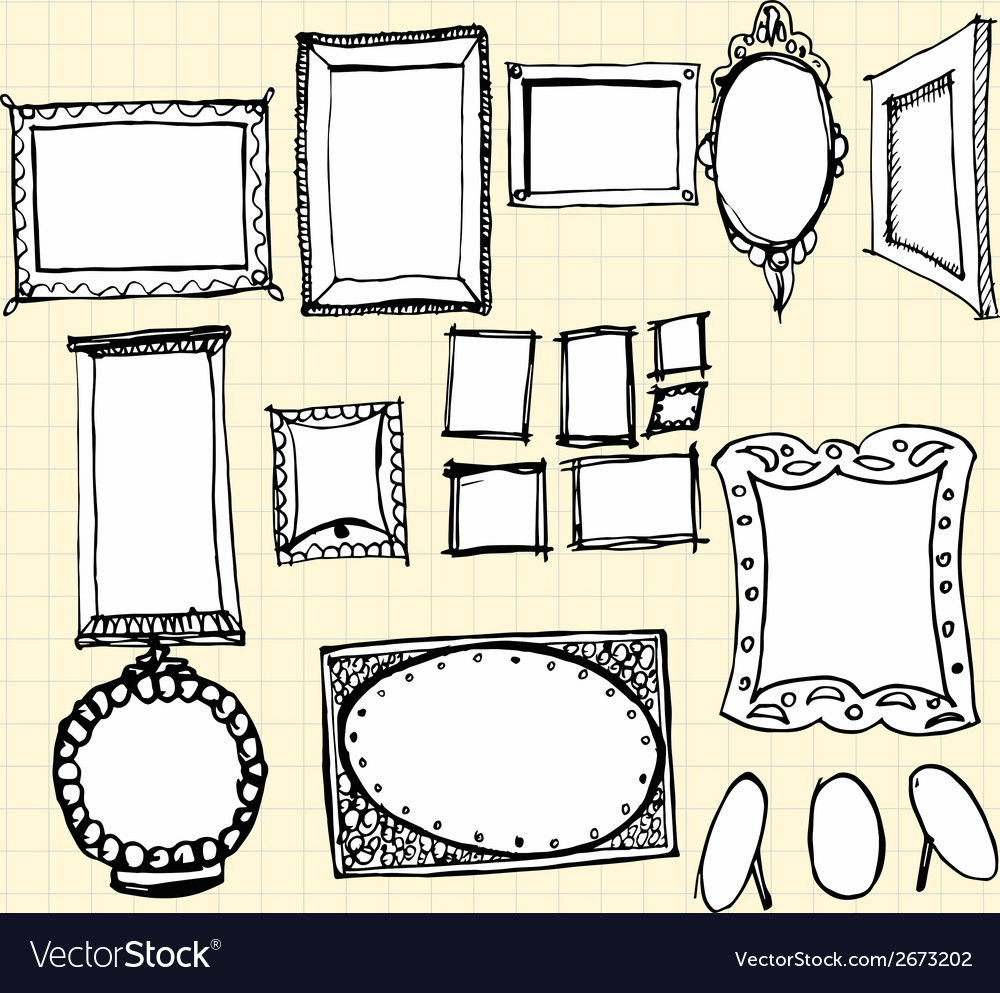 Doodle ornaments photo frames on paper vector | Price: 1 Credit (USD $1)