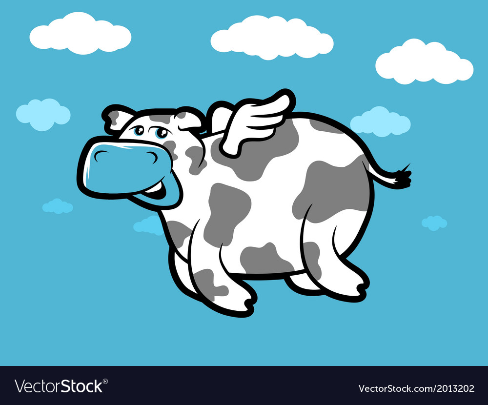 Flying cow vector | Price: 1 Credit (USD $1)