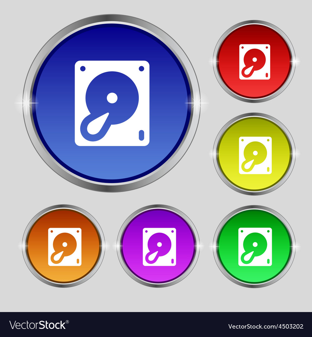 Hard disk and database icon sign round symbol on vector | Price: 1 Credit (USD $1)