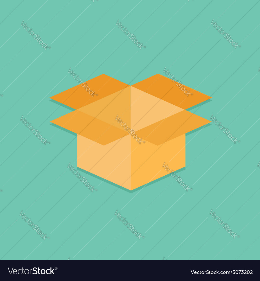 Opened yellow cardboard package box flat design vector | Price: 1 Credit (USD $1)