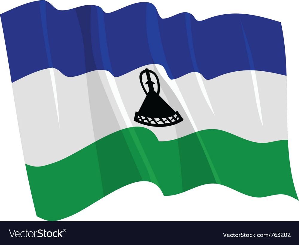 Political waving flag of lesotho vector | Price: 1 Credit (USD $1)