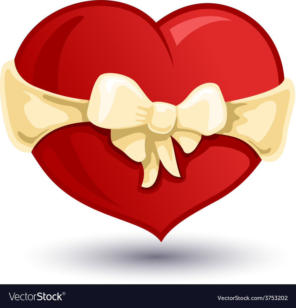 Valentine heart with a beige bow-knot vector | Price: 1 Credit (USD $1)