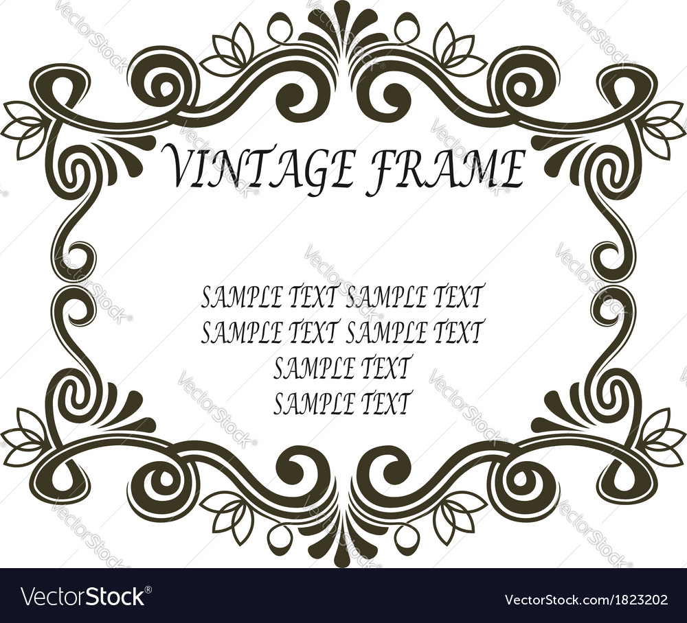 Vintage frame with scrolls and flourishes vector | Price: 1 Credit (USD $1)