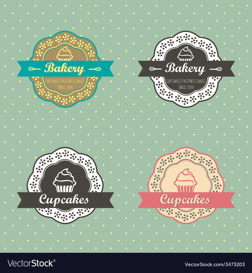 Bakery cupcakes retro style label on retro polka vector | Price: 1 Credit (USD $1)