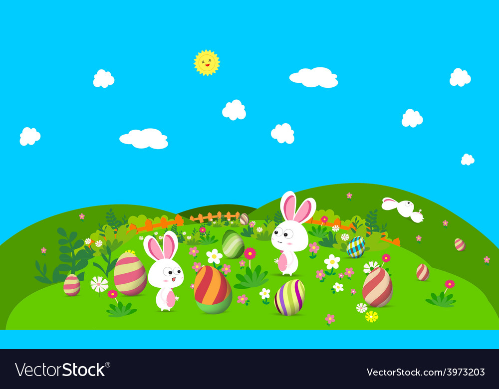 Colorful happy easter greeting card with eggs and vector | Price: 1 Credit (USD $1)