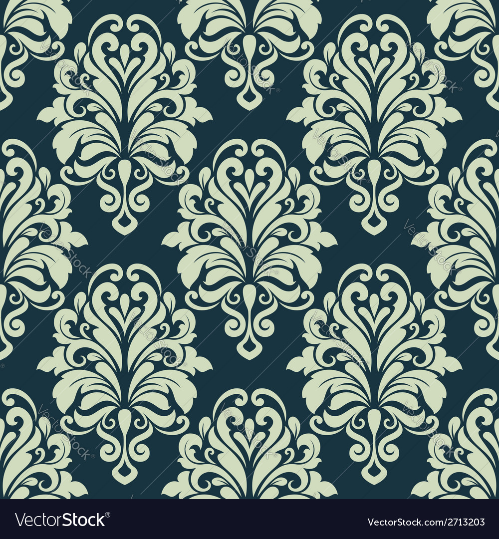 Green retro floral arabesque seamless pattern vector | Price: 1 Credit (USD $1)