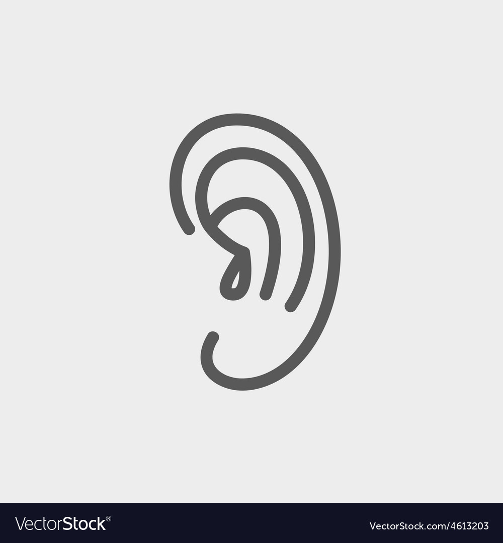 Human ear thin line icon vector | Price: 1 Credit (USD $1)