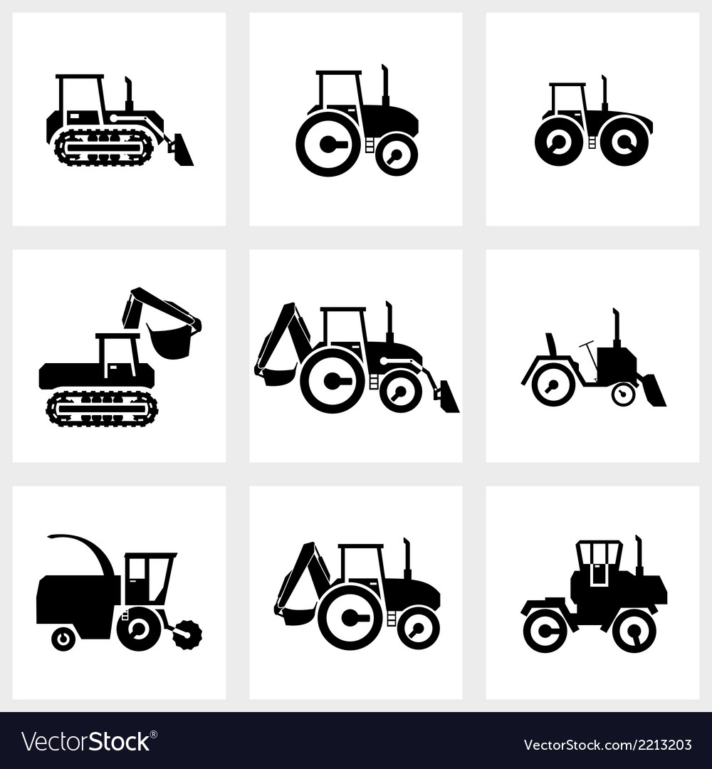 Icon set tractors and kombain vector | Price: 1 Credit (USD $1)