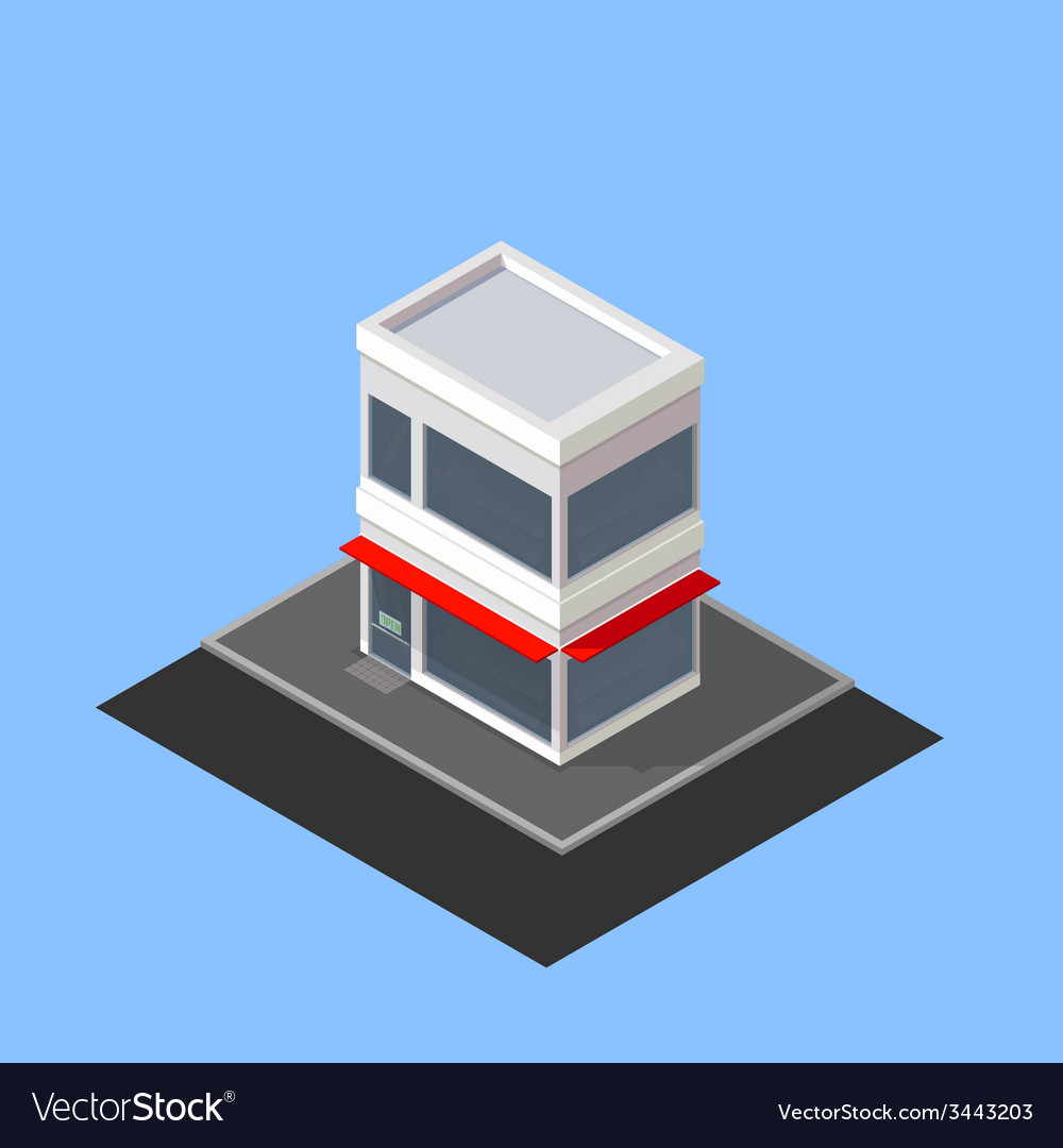 Isometric store building vector | Price: 1 Credit (USD $1)
