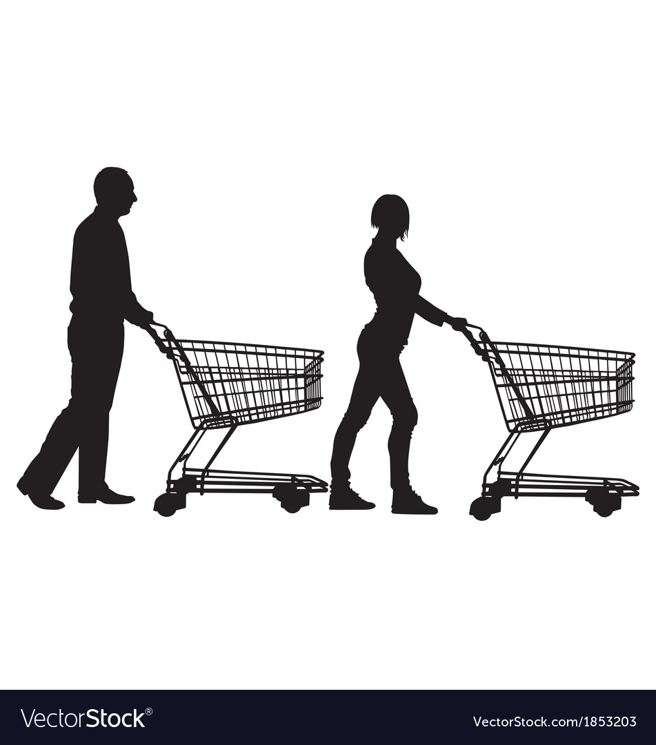 People pushing shopping carts vector
