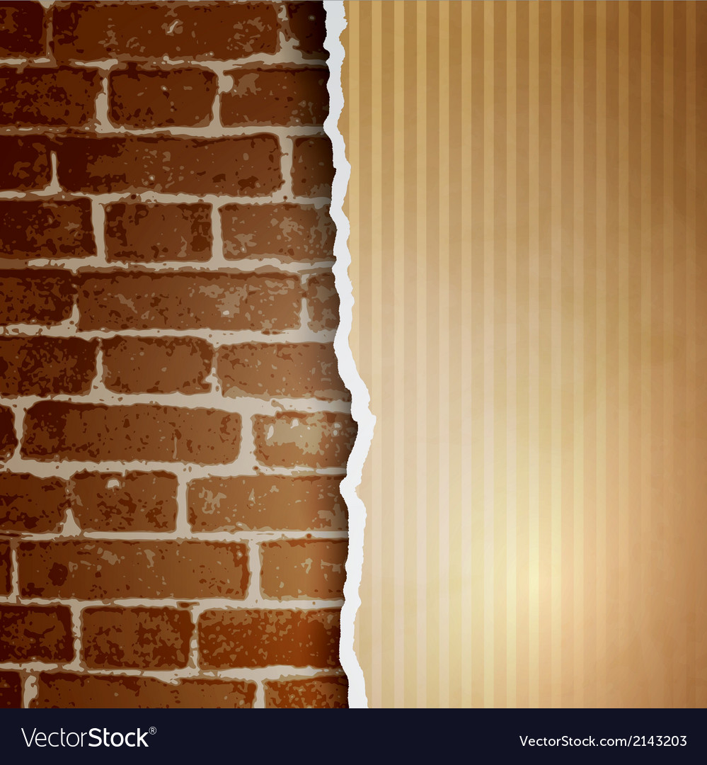 Ragged paper with a pattern of lines on brick wall vector | Price: 1 Credit (USD $1)