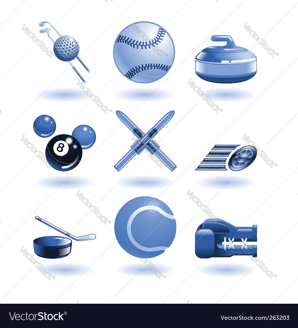 Shiny sports icon set series vector | Price: 1 Credit (USD $1)