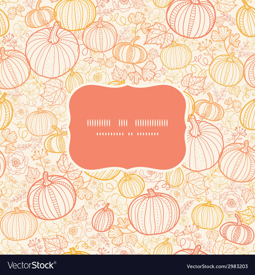 Thanksgiving line art pumkins frame seamless vector | Price: 1 Credit (USD $1)