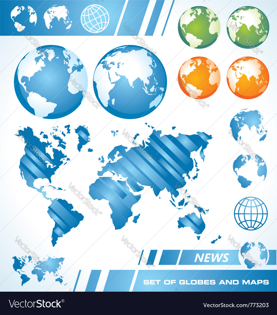 World maps and globes vector | Price: 1 Credit (USD $1)