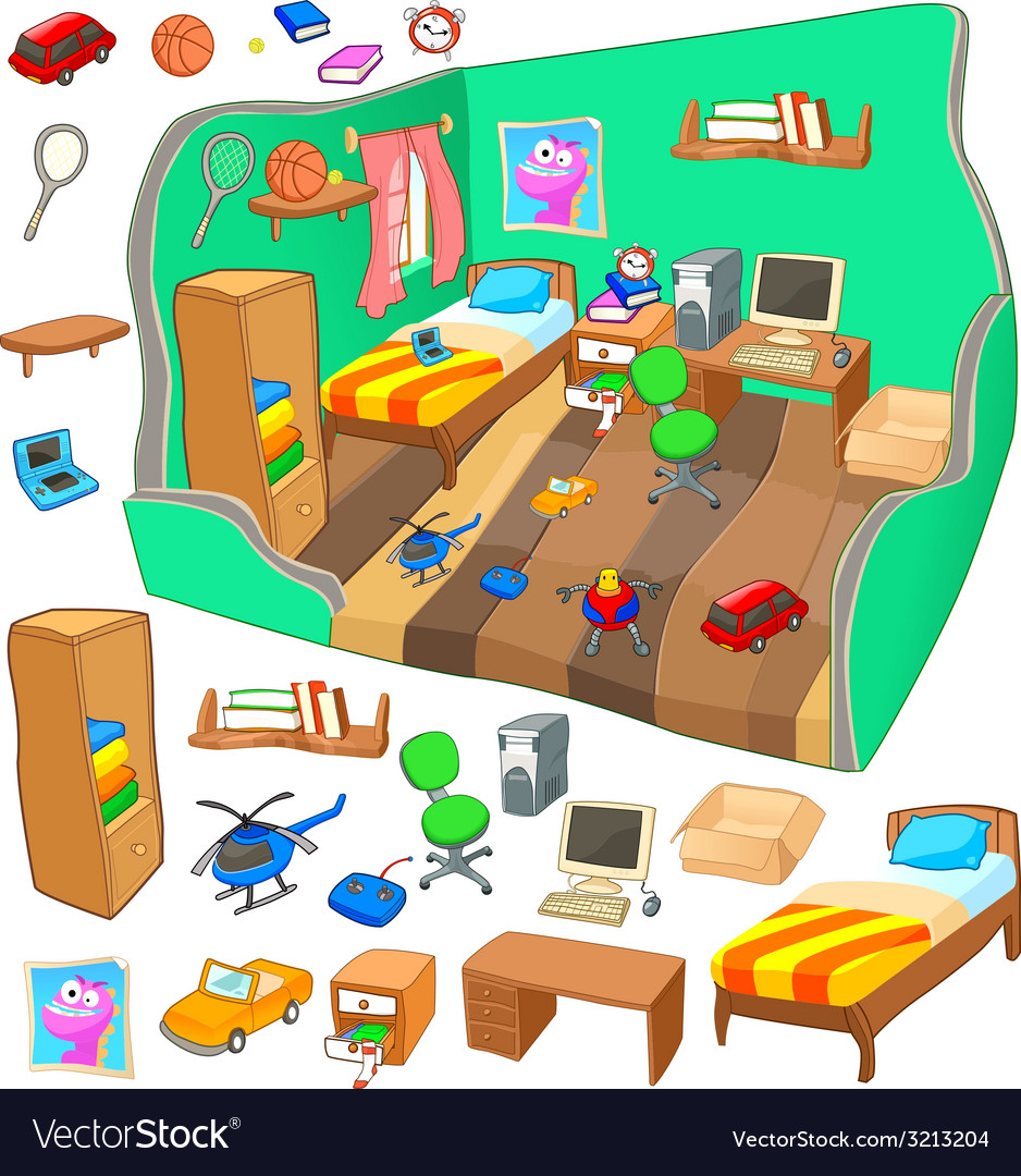 Boy bedroom detailed view with set of items vector | Price: 1 Credit (USD $1)