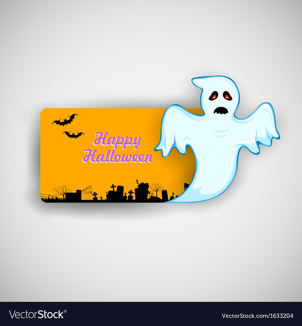 Flying boo ghost wishing happy halloween vector | Price: 1 Credit (USD $1)