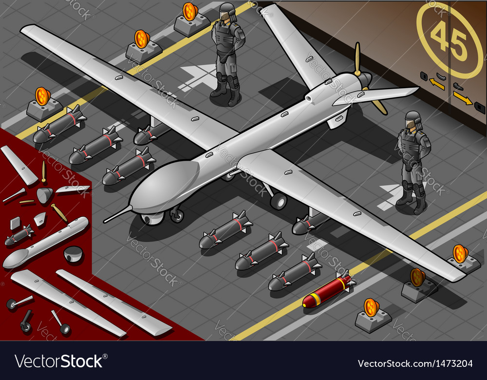 Isometric drone airplane landed in front view vector | Price: 1 Credit (USD $1)