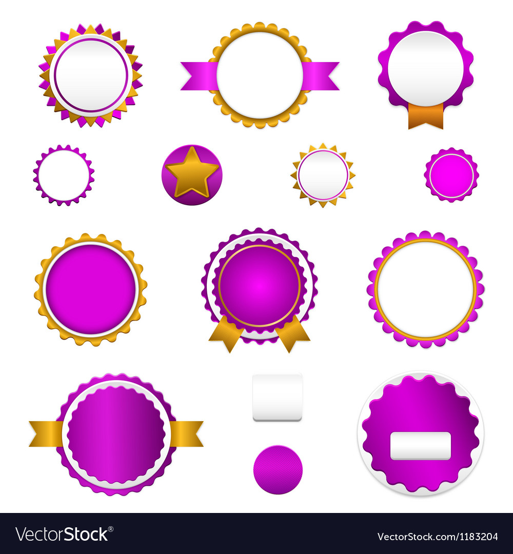 Set of sale badges labels and stickers in purple vector | Price: 1 Credit (USD $1)
