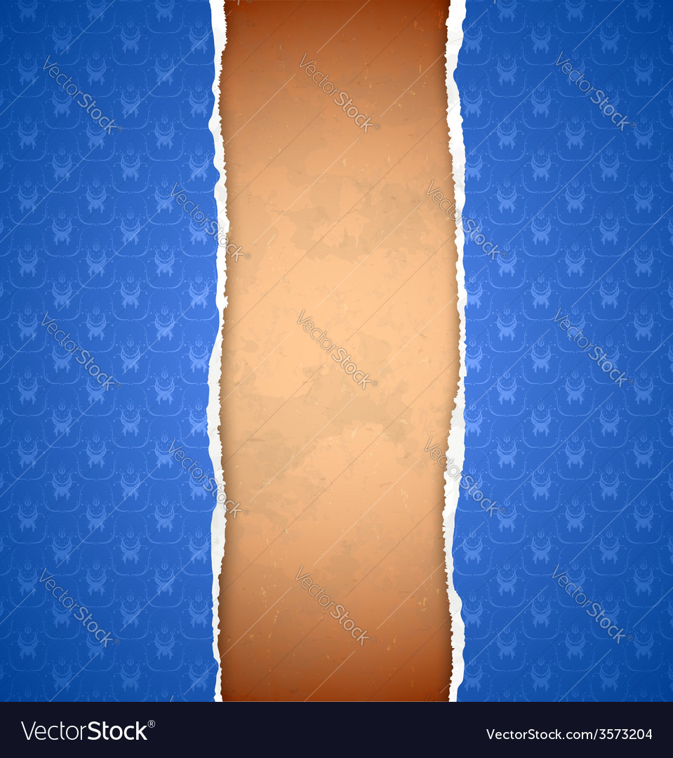 Torn blue ornamental wallpaper vector | Price: 1 Credit (USD $1)