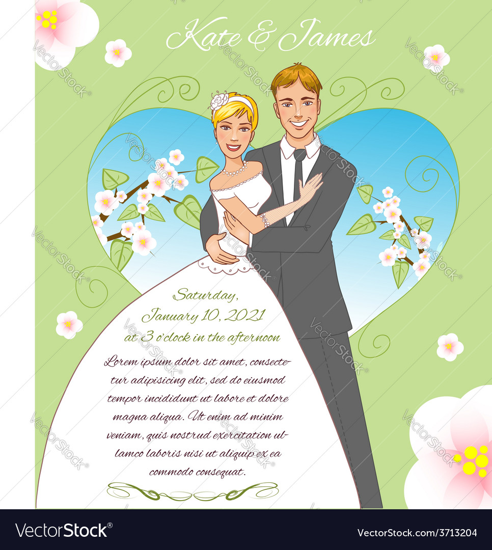 Young couple on the spring background eps10 vector | Price: 1 Credit (USD $1)