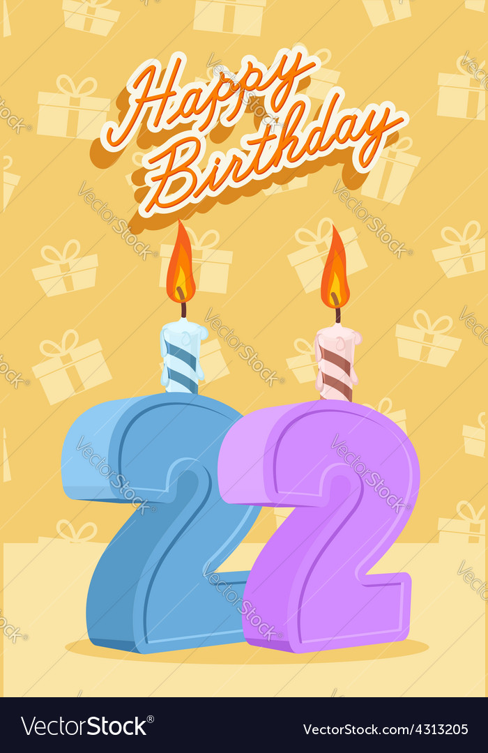 22 years celebration 22nd happy birthday vector | Price: 1 Credit (USD $1)