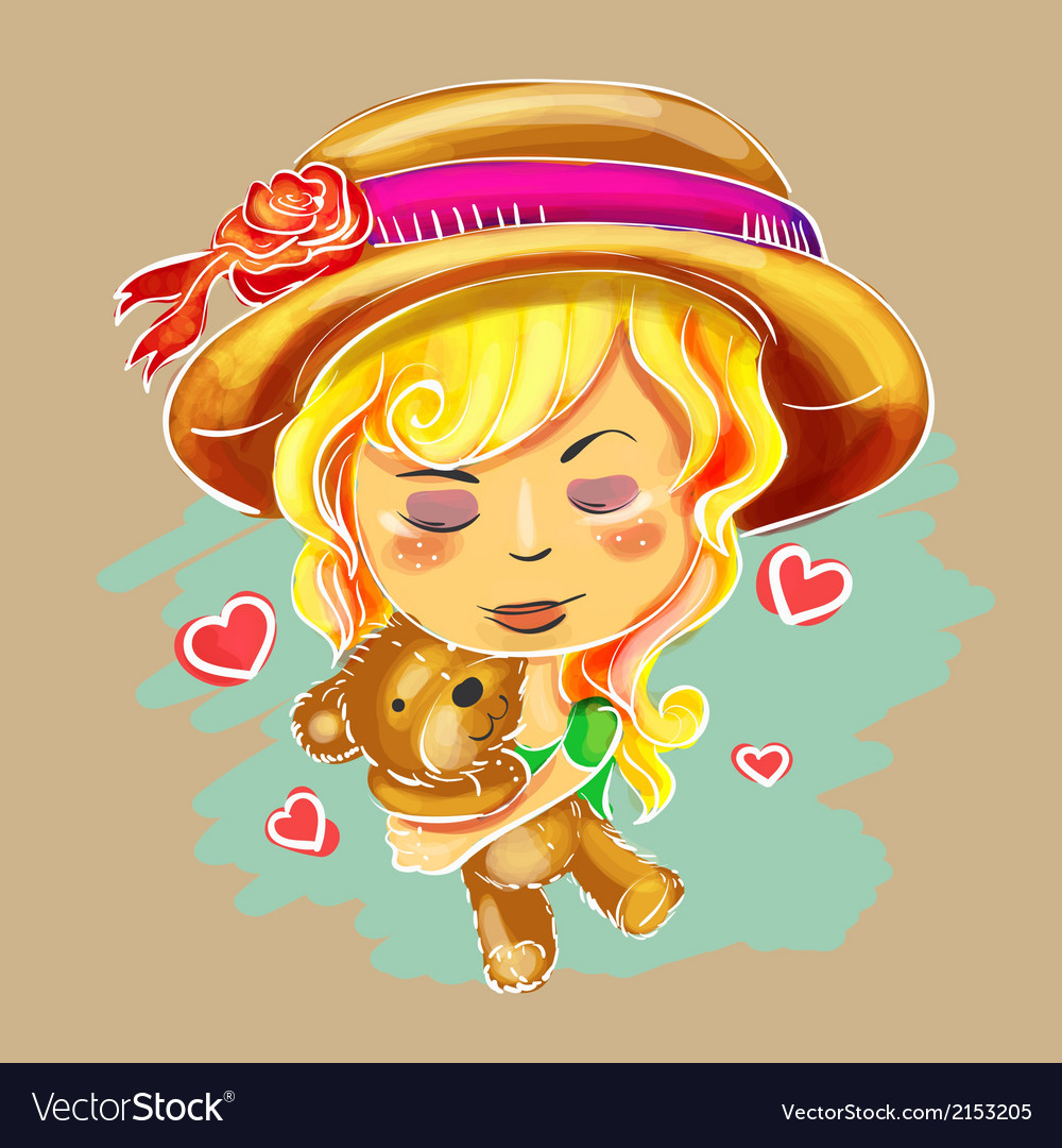 Cute hand drawn girl holding teddy bear vector | Price: 1 Credit (USD $1)
