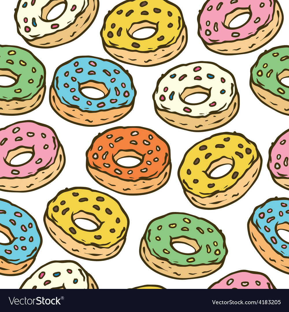 Donuts seamles pattern vector | Price: 1 Credit (USD $1)