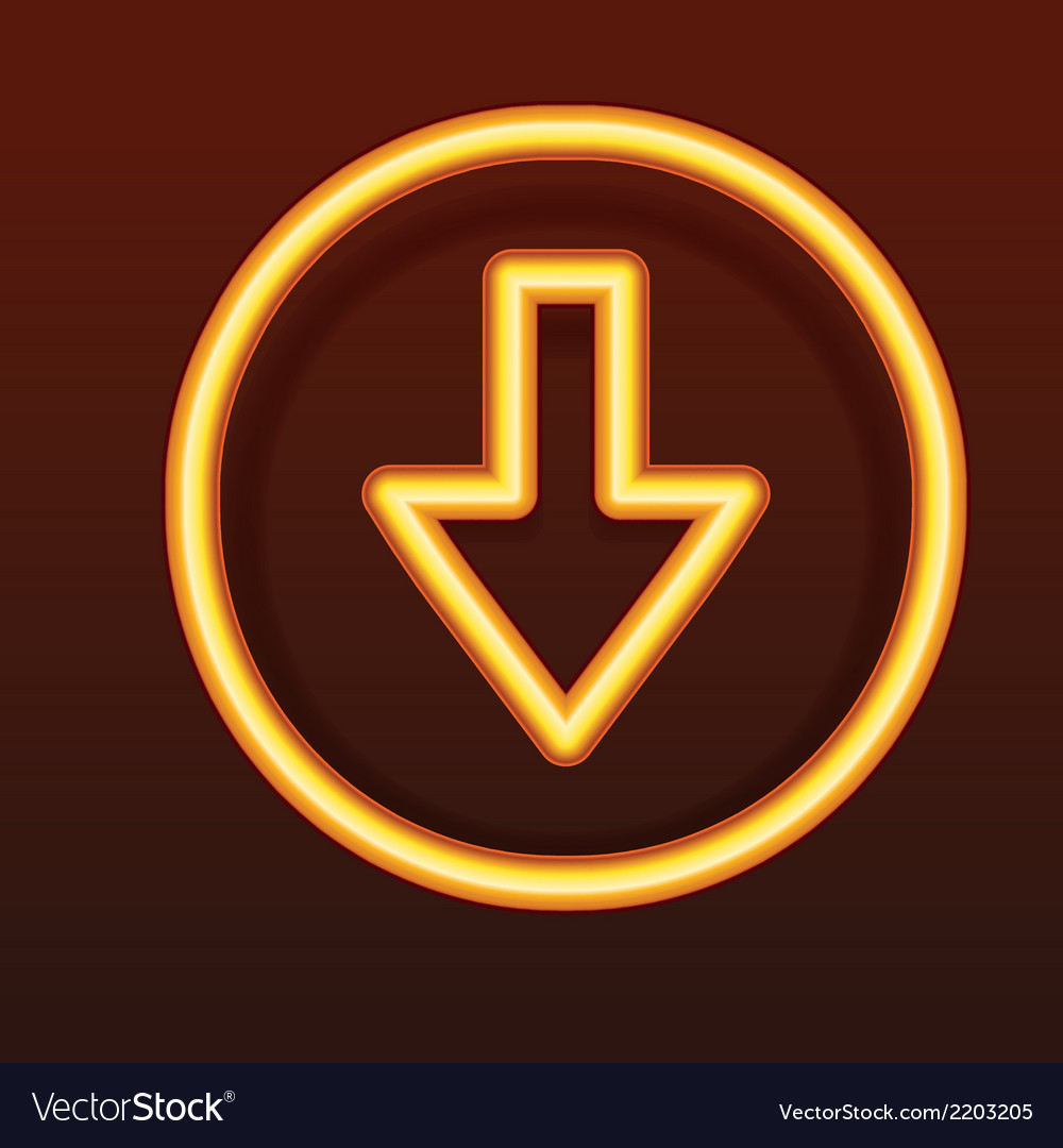 Glowing golden icon down arrow vector | Price: 1 Credit (USD $1)