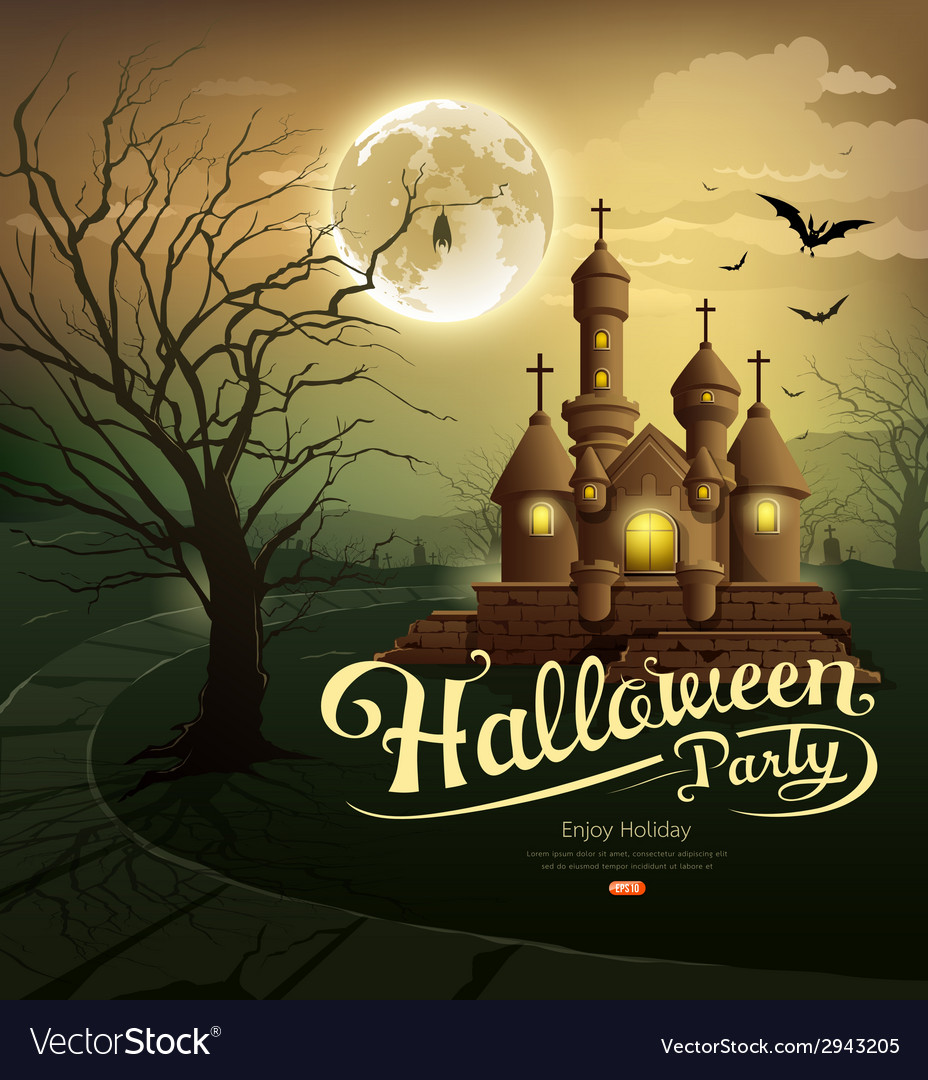 Happy halloween party castles vector | Price: 3 Credit (USD $3)