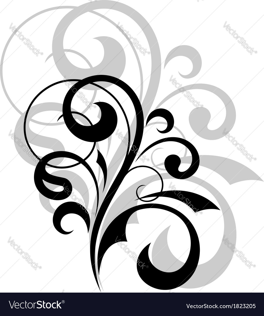 Ornate scrolling design element vector | Price: 1 Credit (USD $1)
