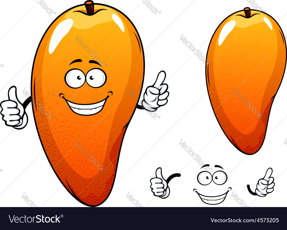 Ripe juicy tropical mango fruit character vector | Price: 1 Credit (USD $1)