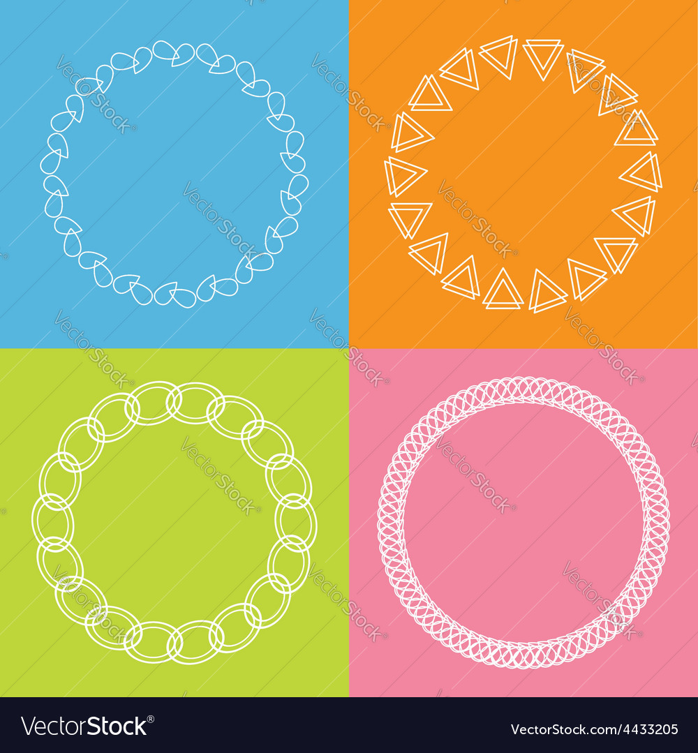 Round abstract geometric shapes frame set outline vector | Price: 1 Credit (USD $1)
