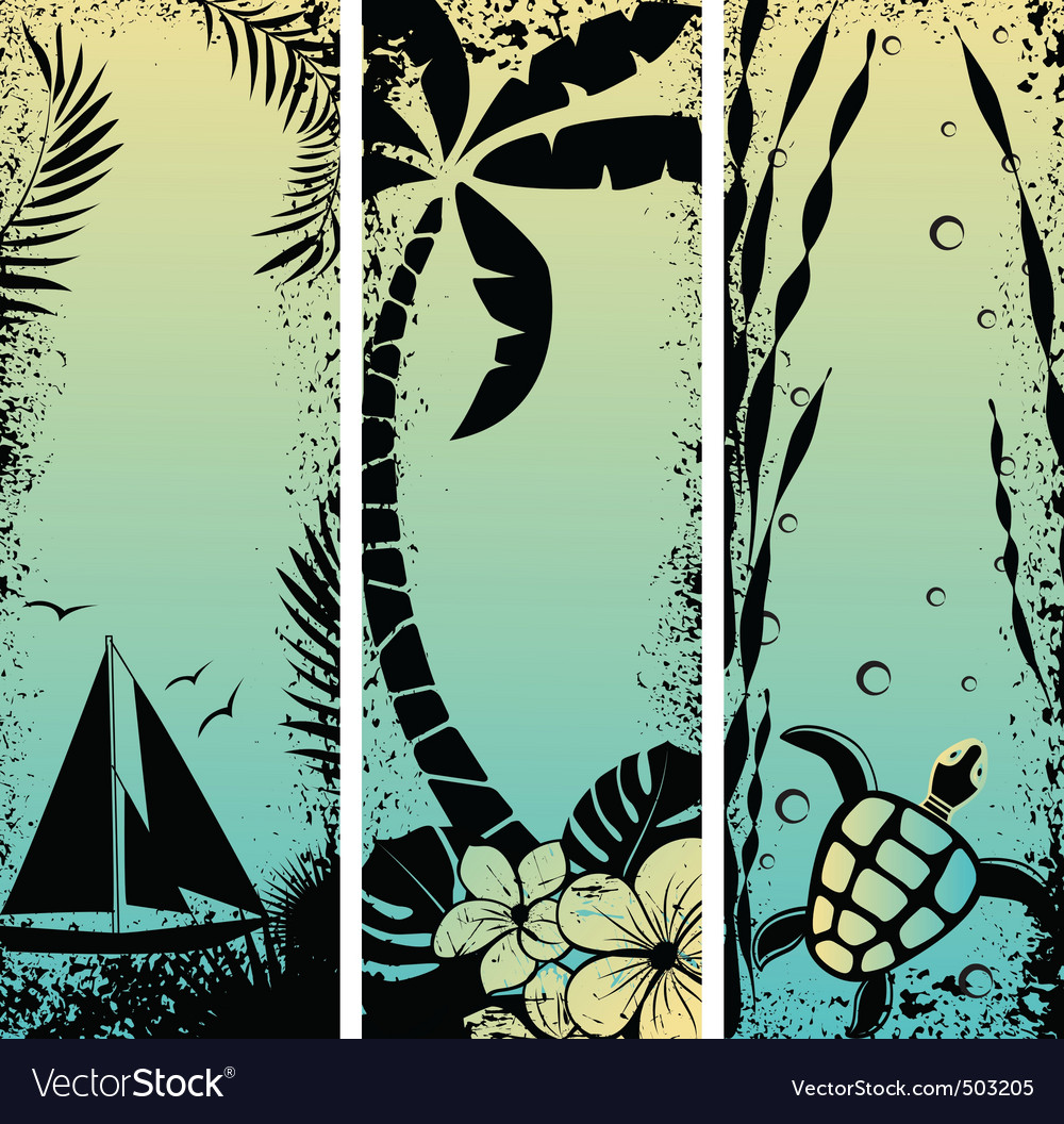 Sea grunge banners vector | Price: 1 Credit (USD $1)
