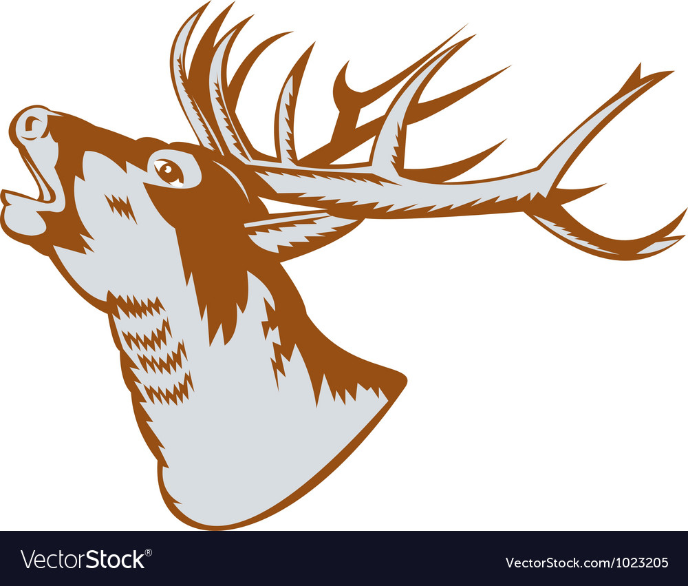 Stag deer roaring vector | Price: 1 Credit (USD $1)