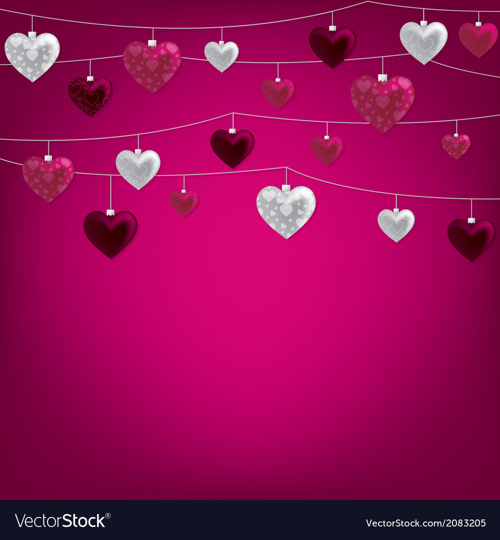 String of valentine baubles card in format vector | Price: 1 Credit (USD $1)