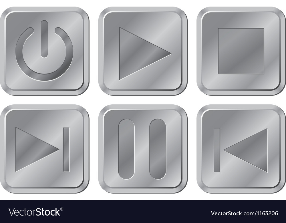 Aluminium media buttons vector | Price: 1 Credit (USD $1)
