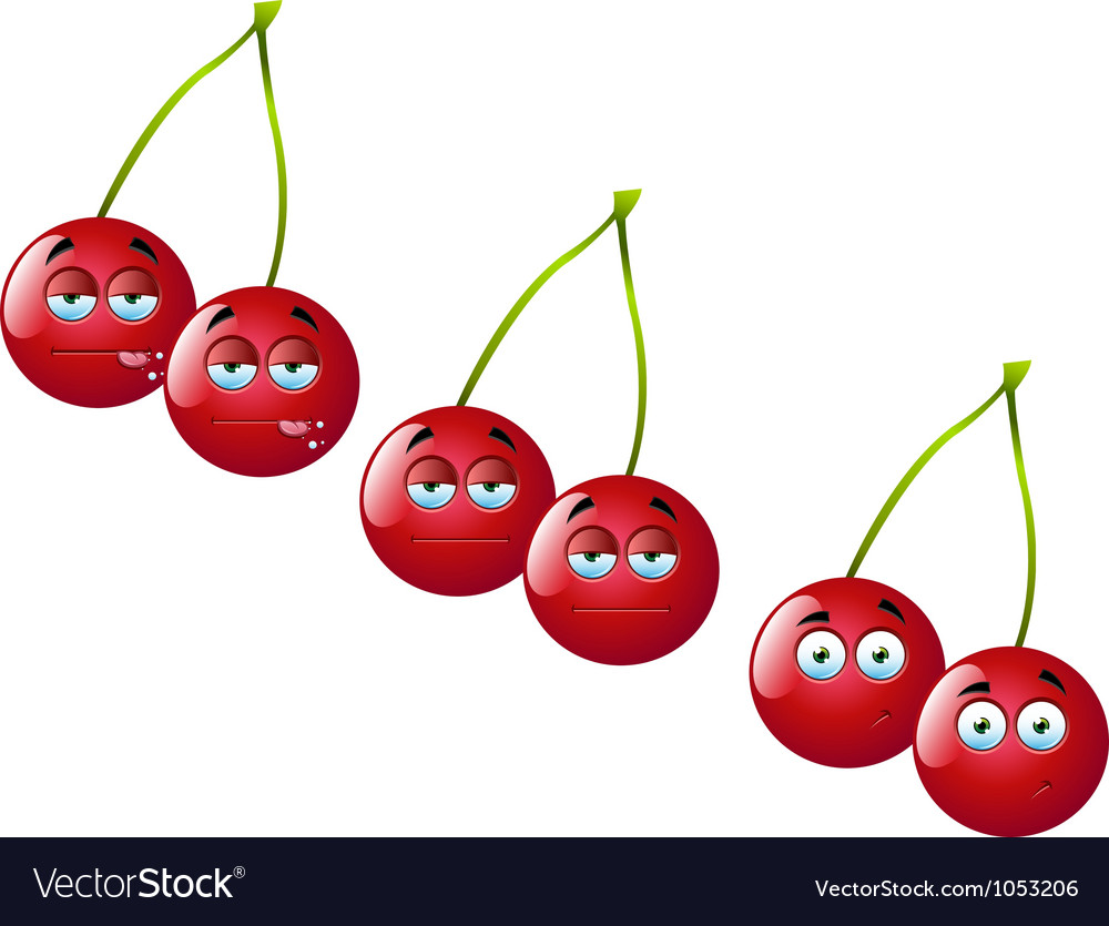 Cartoon cherry set 1 vector | Price: 1 Credit (USD $1)
