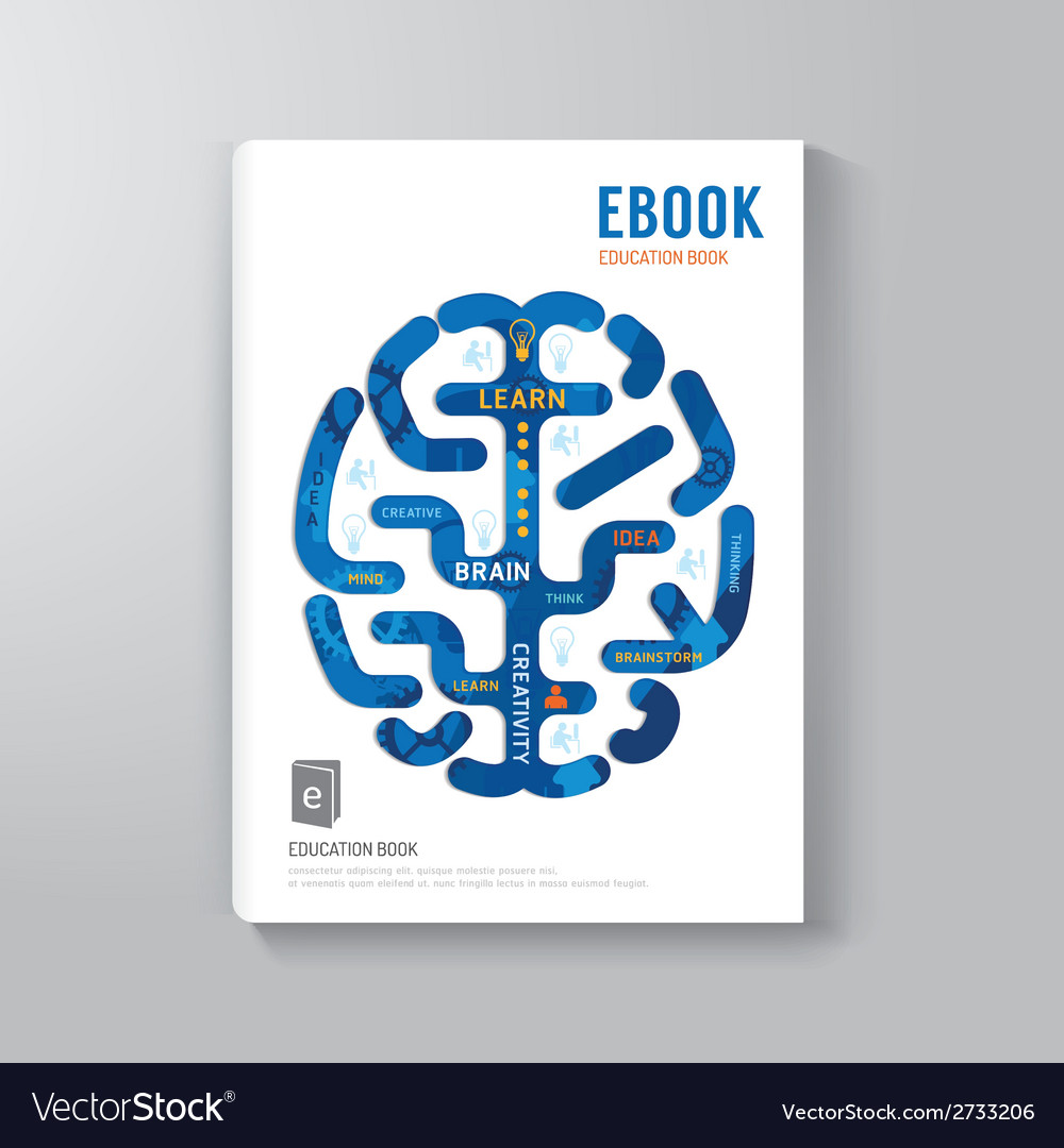 Cover book digital design brain concept template vector | Price: 1 Credit (USD $1)
